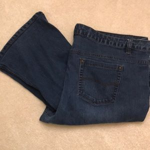 Denim - Dark denim boot cut blue jeans